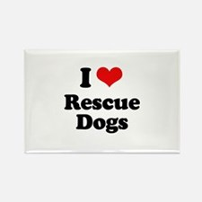 I Love Rescue Dogs Rectangle Magnet (10 pack)
