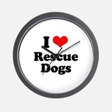 I Love Rescue Dogs Wall Clock