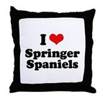I Love Springer Spaniels Throw Pillow