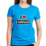I Love Springer Spaniels Women's Dark T-Shirt