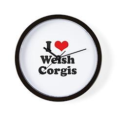 I Love Welsh Corgis Wall Clock
