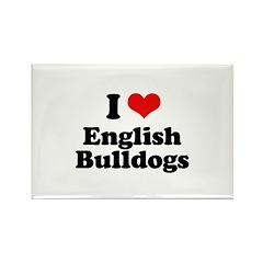 I Love English Bulldogs Rectangle Magnet (10 pack)