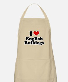 I Love English Bulldogs BBQ Apron