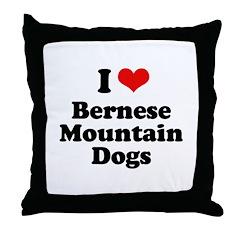 I Love Bernese Mountain Dogs Throw Pillow