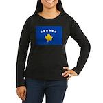 Kosovo Flag Women's Long Sleeve Dark T-Shirt