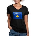 Kosovo Flag Women's V-Neck Dark T-Shirt