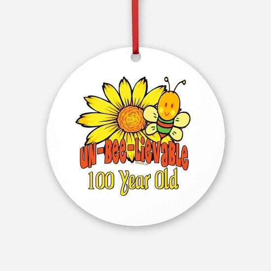 Un-Bee-Lievable 100th Ornament (Round)