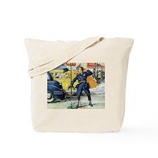 Vintage Police Traffic Cop Tote Bag