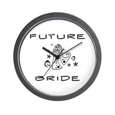 B and W Future Bride Wall Clock