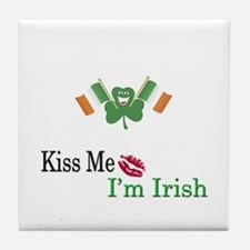 Kiss Me, I'm Irish Tile Coaster