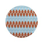 "Blue and Brown Argyll 3.5"" Button (100 pack)"