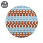 "Blue and Brown Argyll 3.5"" Button (10 pack)"