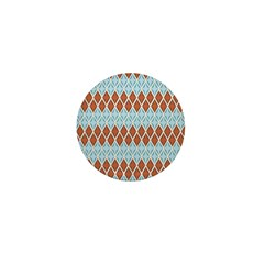 Blue and Brown Argyll Mini Button