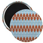 "Blue and Brown Argyll 2.25"" Magnet (100 pack)"
