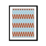 Blue and Brown Argyll Framed Panel Print
