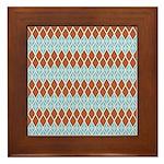 Blue and Brown Argyll Framed Tile