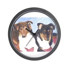 Collie Pups Wall Clock