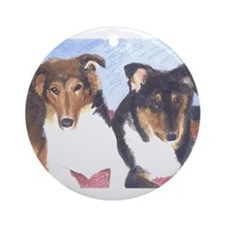 Collie Pups Ornament (Round)
