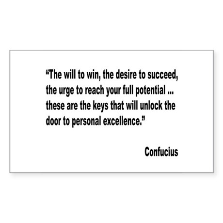 Confucius Personal Excellence Quote Sticker (Recta