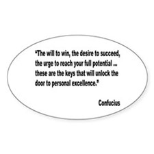 Confucius Personal Excellence Quote Oval Decal