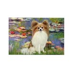 Lilies & fawn Papillon Rectangle Magnet (10 pack)