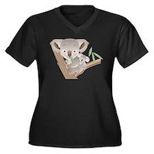 Koala Bear Women's Plus Size V-Neck Dark T-Shirt