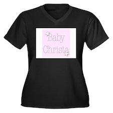 Funny Christa Women's Plus Size V-Neck Dark T-Shirt