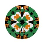 GRN-WHT-ORG SHAMROCKS 2 Ornament (Round)