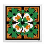 GRN-WHT-ORG SHAMROCKS 2 Tile Coaster