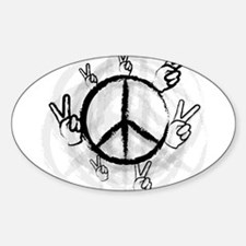 Peace Symbol & Sign Oval Decal