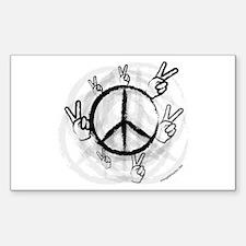 Peace Symbol & Sign Rectangle Decal