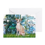 Lilies / Ital Greyhound Greeting Cards (Pk of 10)
