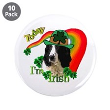 "St Pats Springer Spaniel 3.5"" Button (10 pack)"