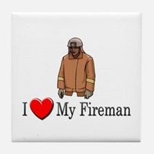 I Love My Fireman Tile Coaster