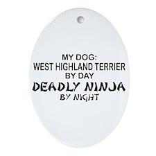 West Highland Terrier Deadly Ninja Oval Ornament
