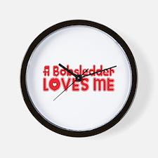 A Bobsledder Loves Me Wall Clock