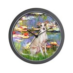 Lilies / Ital Greyhound Wall Clock