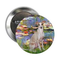 "Lilies / Ital Greyhound 2.25"" Button"