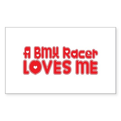 A BMX Racer Loves Me Rectangle Sticker