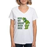 Kiss My Green Irish Arse Women's V-Neck T-Shirt
