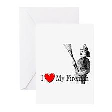 I Love My Fireman Greeting Cards (Pk of 10)