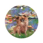 Lilies / Chihuahua (lh) Ornament (Round)