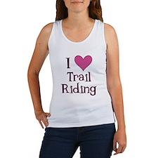 Pink I Heart Trail Riding Women's Tank Top
