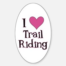 Pink I Heart Trail Riding Oval Decal