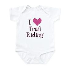 Pink I Heart Trail Riding Infant Bodysuit