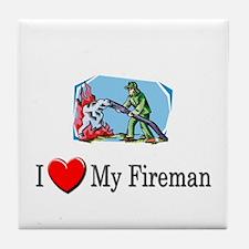 I Love My Fireman Tile Coaster