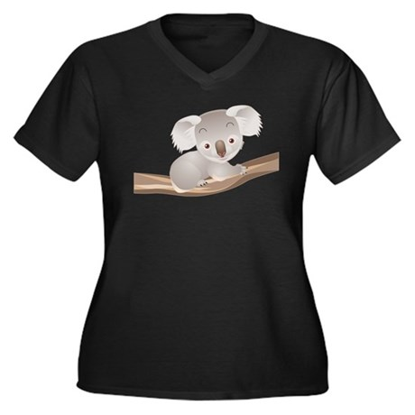 Baby Koala Women's Plus Size V-Neck Dark T-Shirt