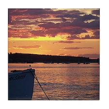 Maine Lobster Boat Sunset Tile Coaster