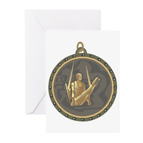 Men's Gymnastics Rings Emblem Greeting Cards (Pk o