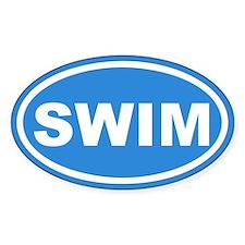 SWIM Swimming Blue Euro Oval Decal